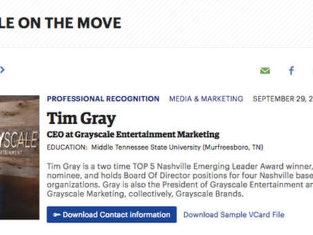 Tim Gray named Nashville Business Journal 2017 People On The Move