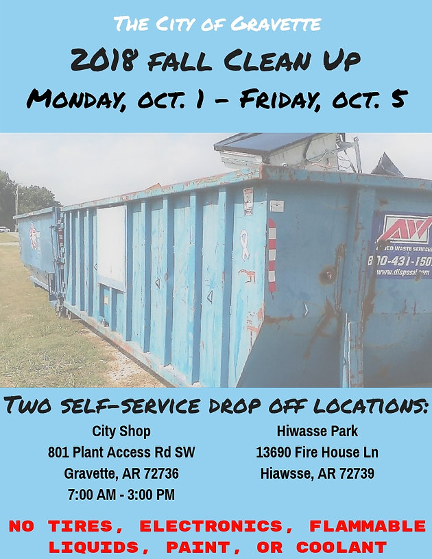 Fall Clean Up Scheduled | City of Gravette, Arkansas