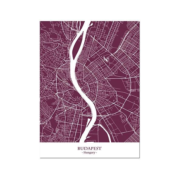 Ilustración Mapa Budapest-Hungary. Decoración mural.Cartography42