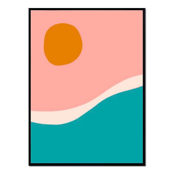 Paisaje Abstracto Rosa, Naranja y Azul