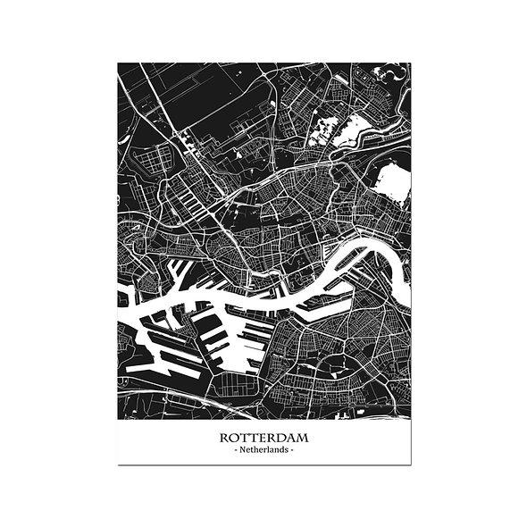 Ilustración Mapa Rotterdam-Netherlands. Decoración mural.Cartography126