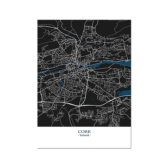 Ilustración Mapa Cork-Ireland . Decoración mural.Cartography1