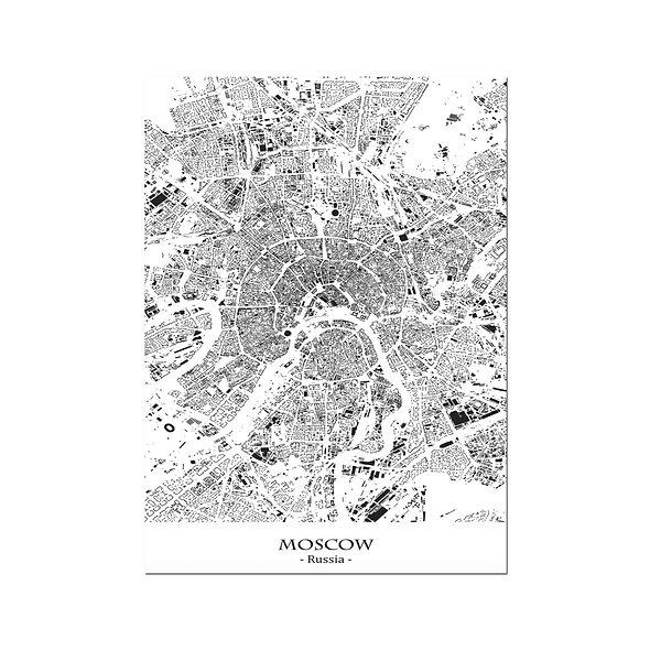Ilustración Mapa Moscow-Russia. Decoración mural.Cartography57
