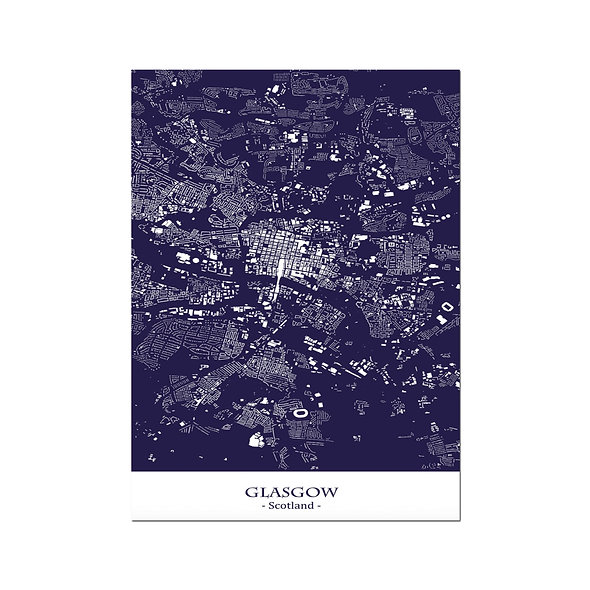 Ilustración Mapa Glasgow-Scotland. Decoración mural.Cartography61