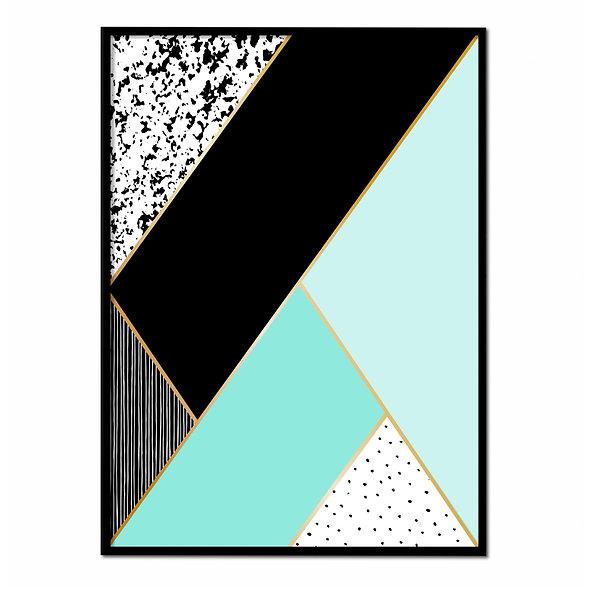 Ilustración Geométrica Azul y Negra