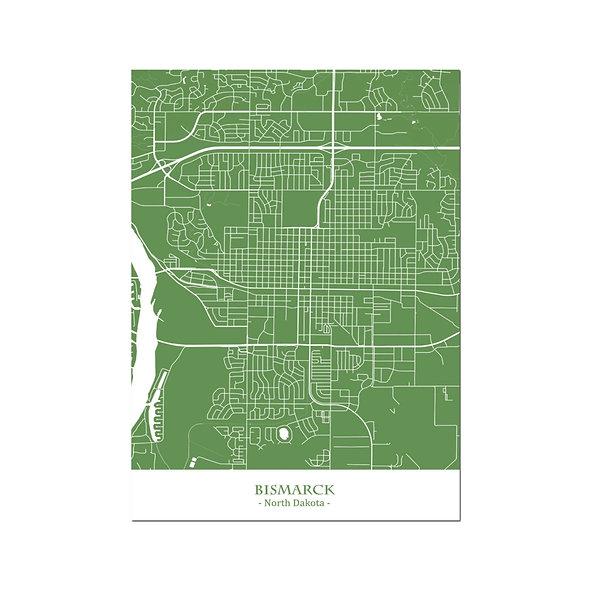 Ilustración Mapa Bismarck-North Dakota. Decoración mural.Cartography17