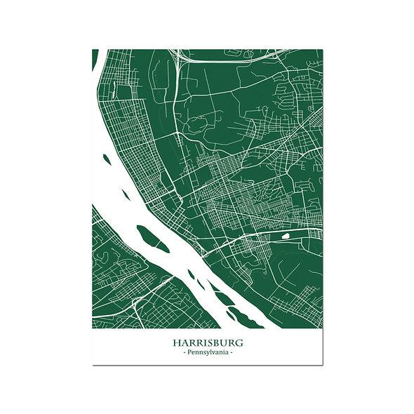 Ilustración Mapa Harrisburg-Pennsylvania . Decoración mural.Cartography15