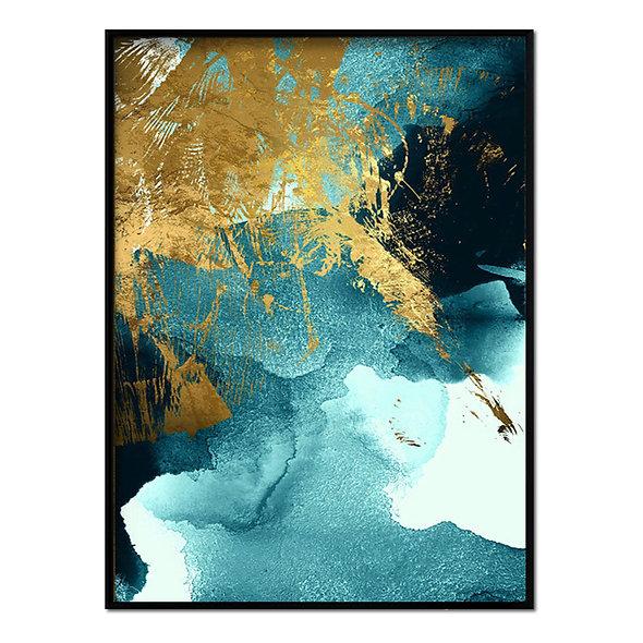 Pinceladas Azul y Dorado