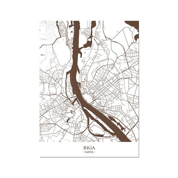 Ilustración Mapa Riga-Latvia. Decoración mural.Cartography7