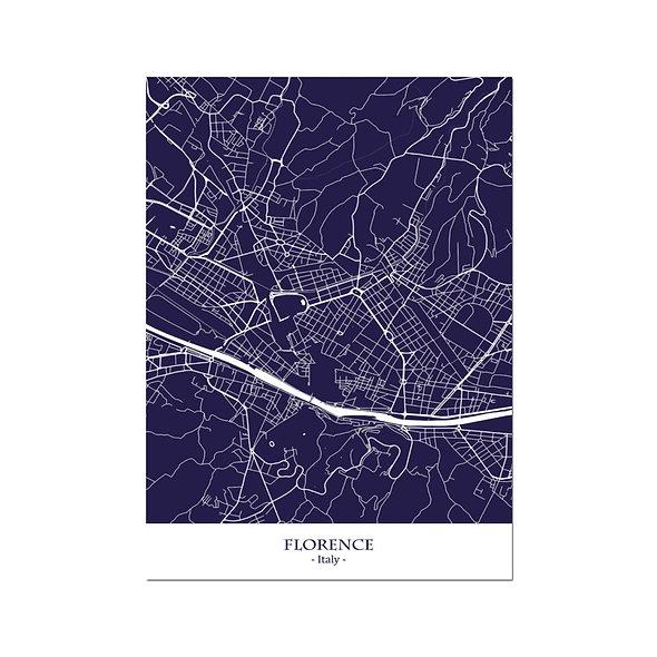 Ilustración Mapa Florence-Italy. Decoración mural.Cartography9