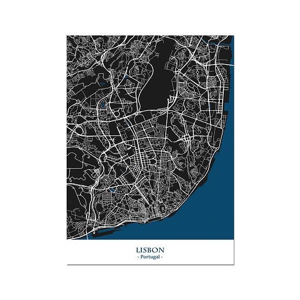Ilustración Mapa Lisbon-Portugal. Decoración mural.Cartography181