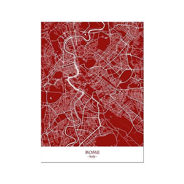 Ilustración Mapa Rome-Italy. Decoración mural.Cartography74