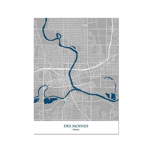Ilustración Mapa Des Moines-Iowa. Decoración mural.Cartography14