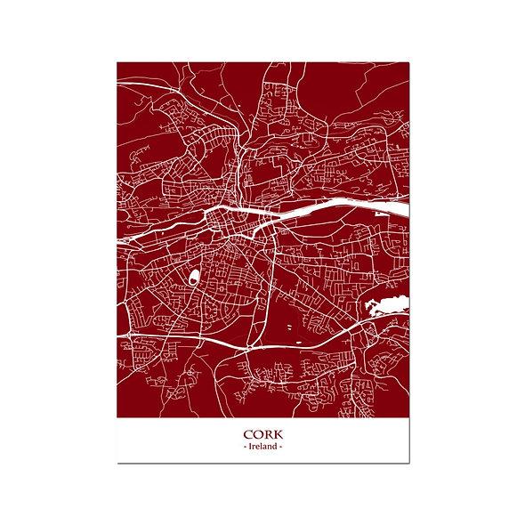 Ilustración Mapa Cork-Ireland . Decoración mural.Cartography2