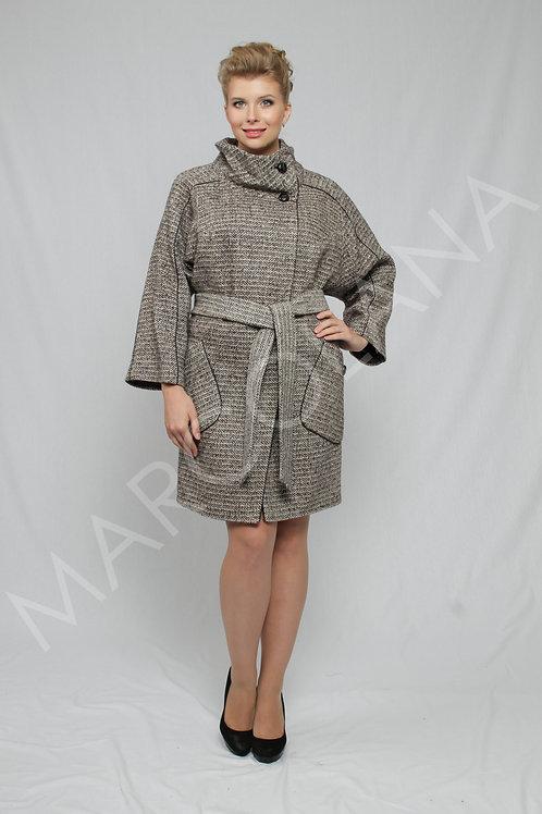 Пальто А-201 (ткань - елка чб)