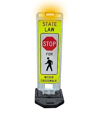 "Pedestrian Crosswalk Sign 36"" with LED Flashing Lights"
