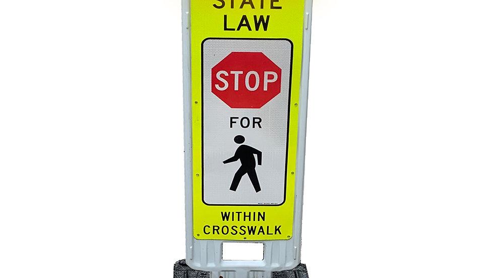"Pedestrian Crosswalk Sign 24"" with LED Flashing Lights"