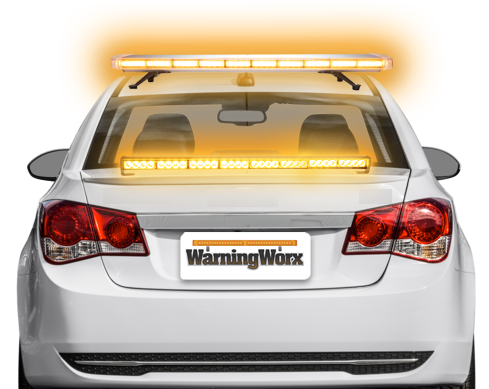 LED Amber Warning Light Bar Kit with Grille and Directional Bar (Level 3)