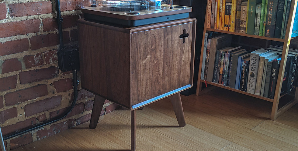 Modern Record Player Cabinet | Turntable stand in Solid Walnut
