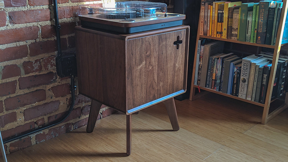 Modern Record Player Cabinet   Turntable stand in Solid Walnut