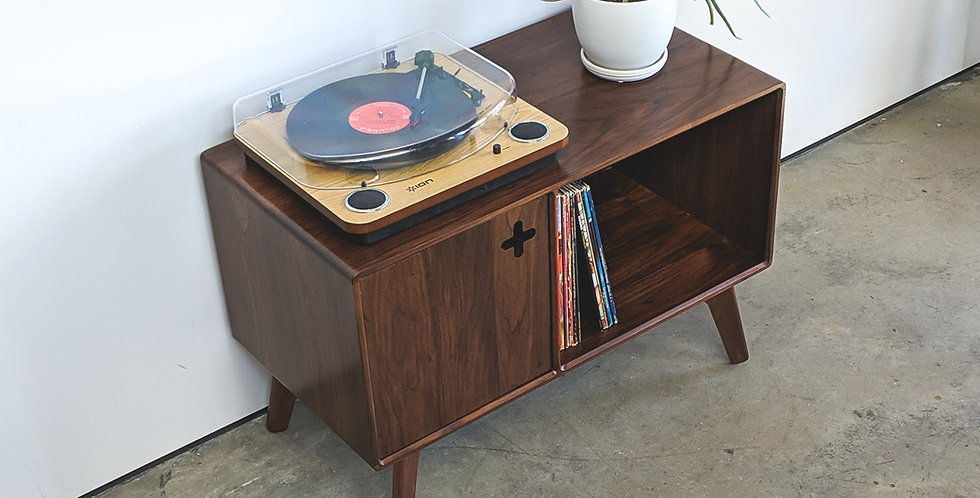 Mid Century Modern Record Player Stand   Vinyl Storage