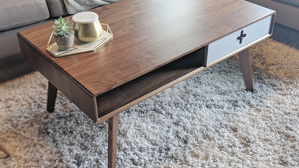 Mid Century Modern Coffee table handmade from walnut wood with white drawer, modern coffee table, danish modern, scandinavian