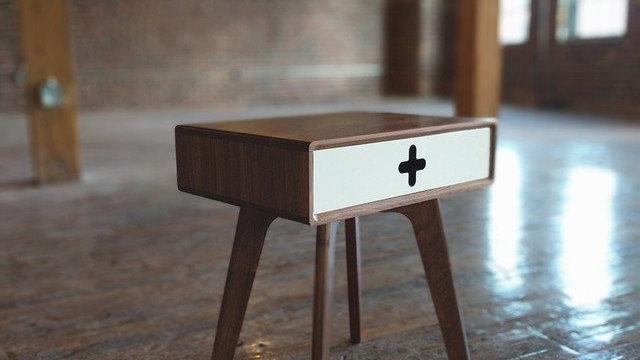 Mid Century Modern nightstand handmade from walnut wood with white drawer, modern bedside table, danish modern, scandinavian