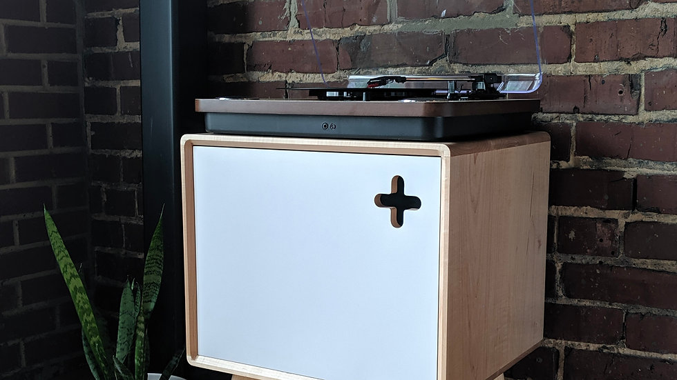 Boop Box Modern Record Player Stand | Record Storage in Solid Maple