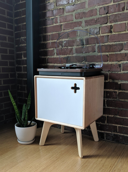 Boop Box Modern Record Player Stand Record Storage In Solid Maple