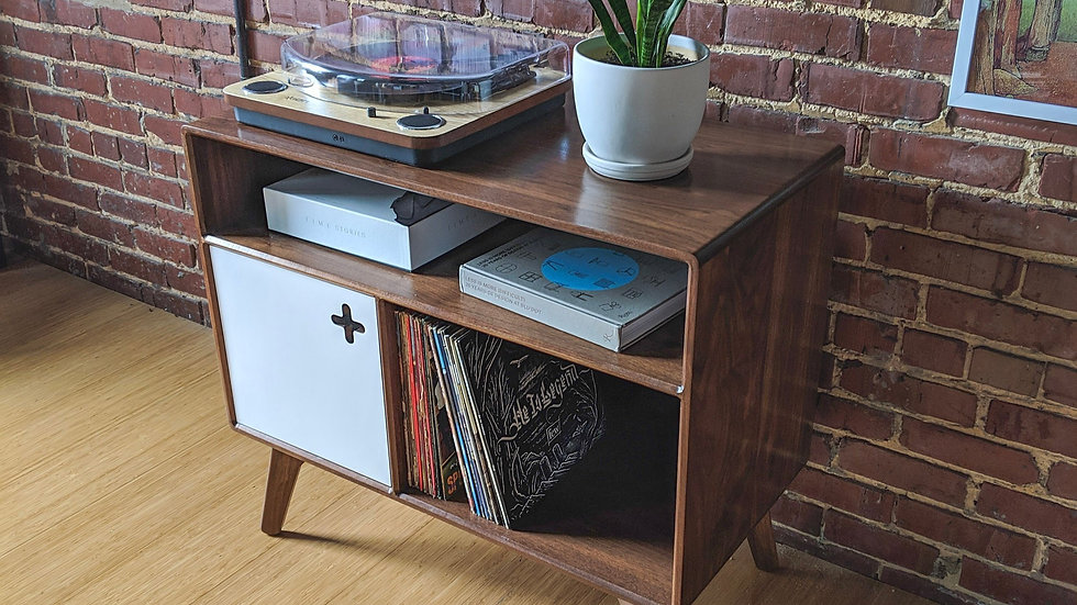 Record Player Cabinet with Receiver Slot | Component Storage