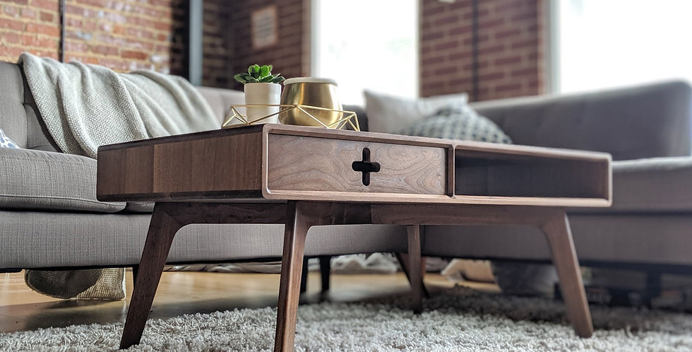Coffee Table Plus | Single Walnut Drawer