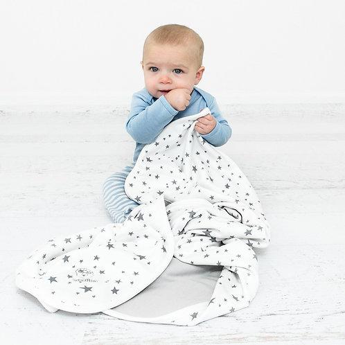 Manta bebés de lana merino. 1,02mtx0,8mt. Estrellas Grises
