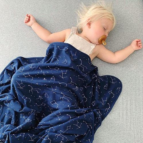 Manta para niños pequeños de lana merino. 1,3mtx1mt. Cielo estrellado