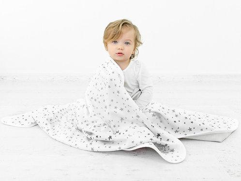 Manta para niños pequeños de lana merino. 1,3mtx1mt. Estrellas Grises