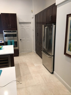 kitchen w/ moved fridge