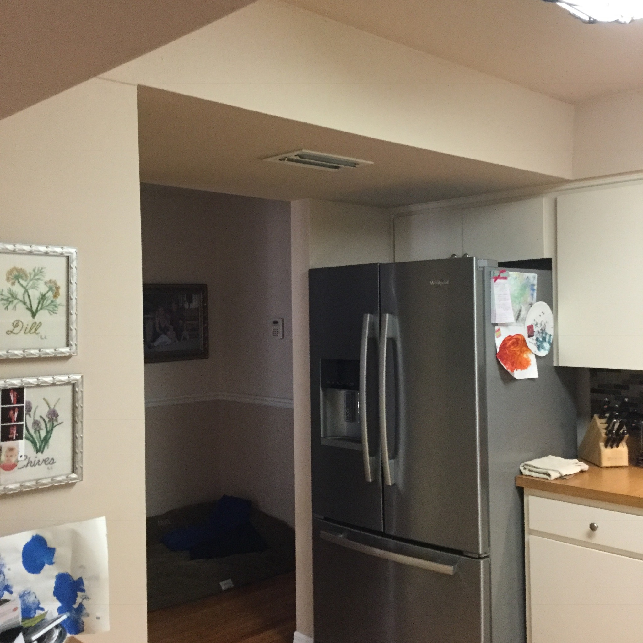 closed off walls/low ceiling