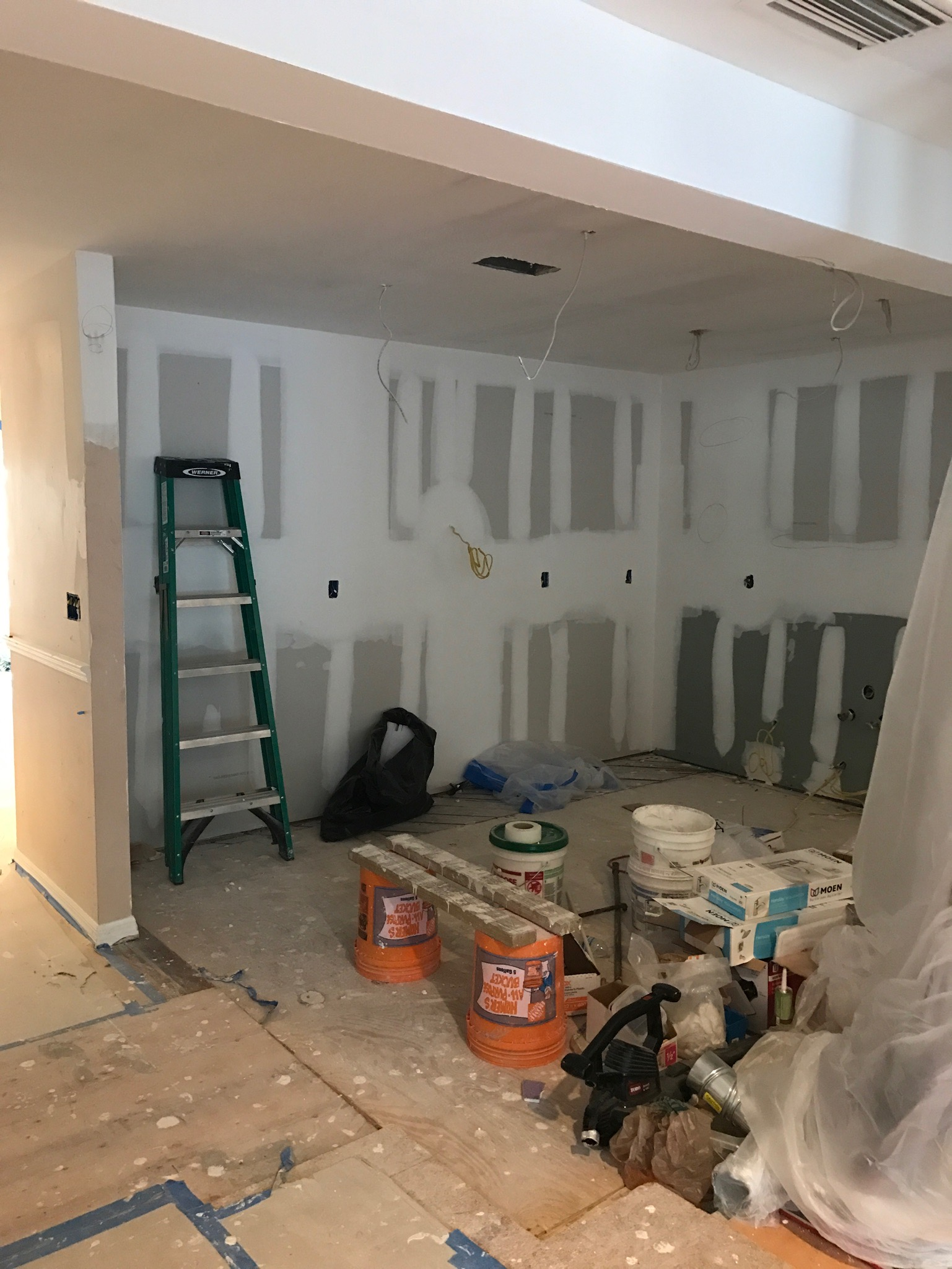 opened up walls/cabinets removed