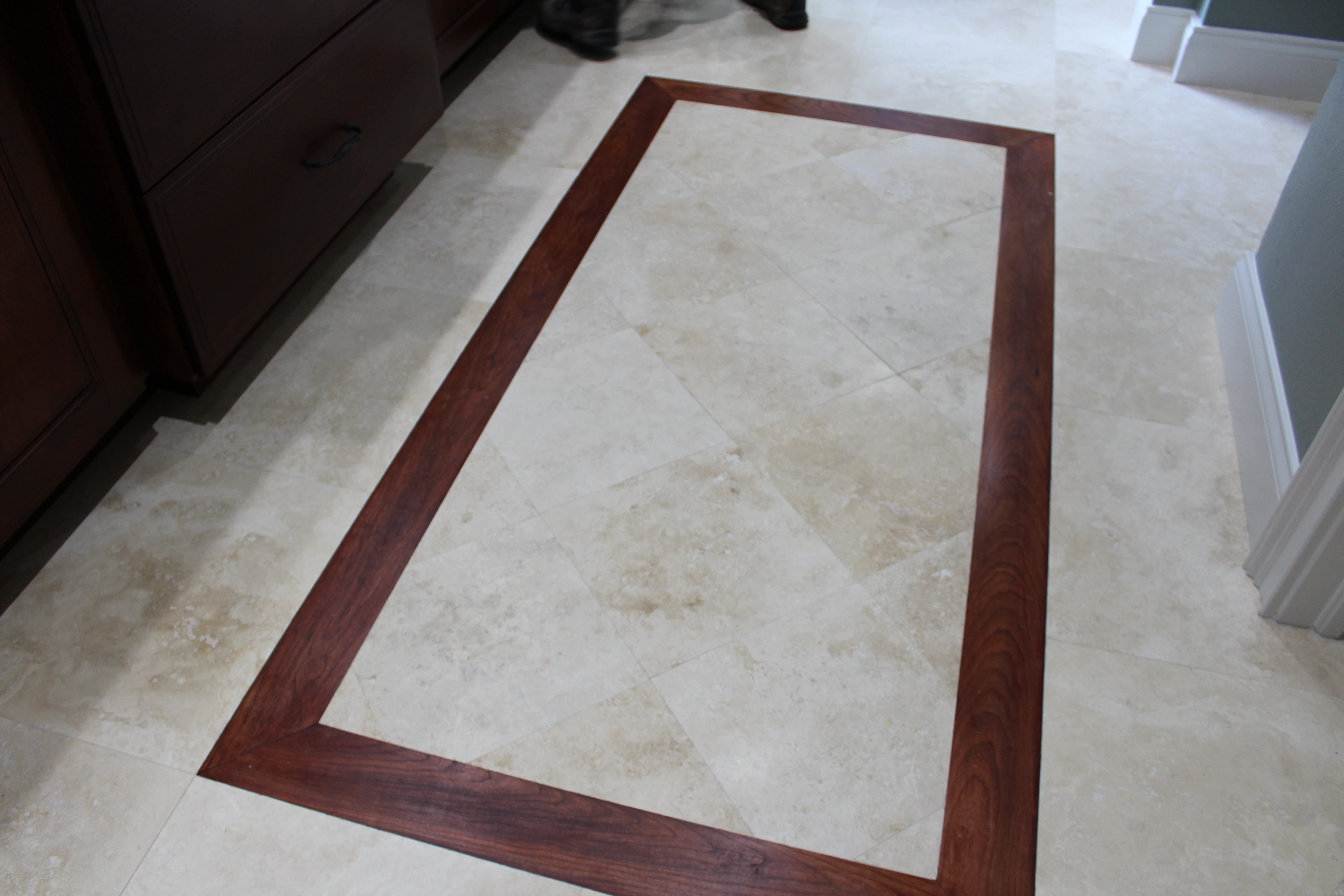 Travertine w/ Custom wood design