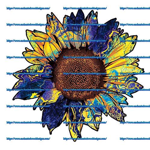 Blue Tie Dye-Multi Sunflower -Heat Transfer Vinyl-Many sizes avail