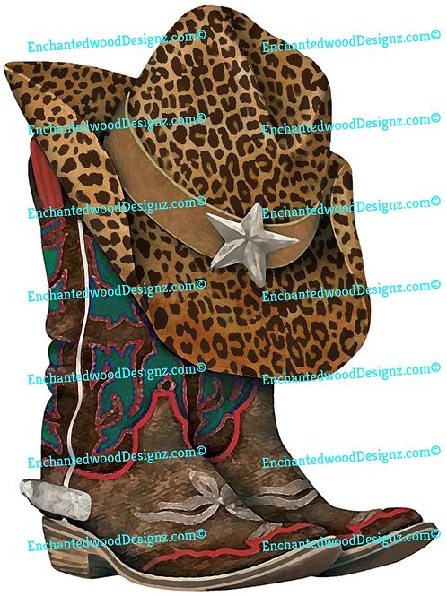 Boho Cowboy boots with Cheetah Hat