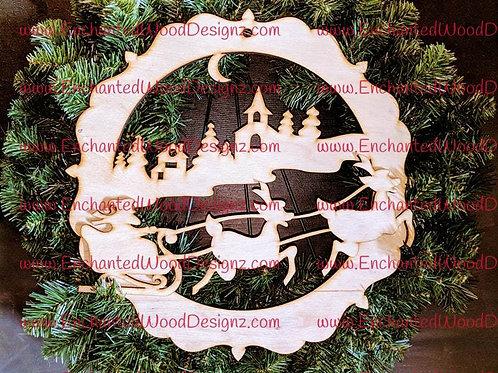 Christmas Eve Santa and sleigh. Wreath, Sign or Mixed media
