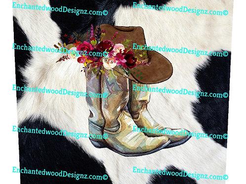 Cow Print Boho boots 12x12 wrap