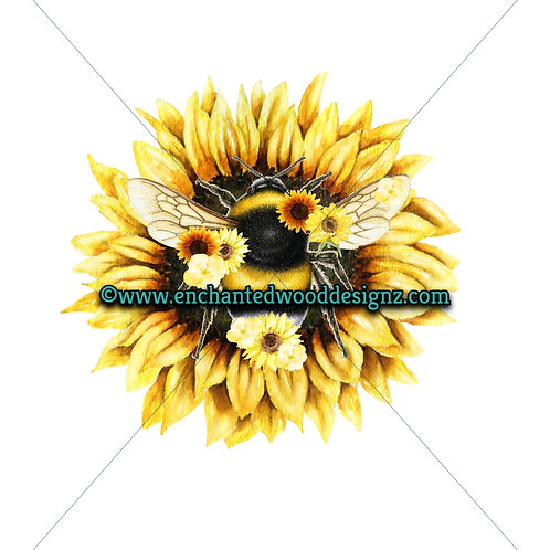 Bumble Bee Sunflowers - Wreath board, Phone Grips, Mixed Media Round