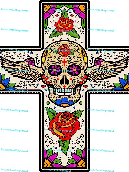 Cross Skull with wings and roses