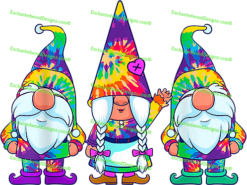 3 Hippie Gnome Tye Dye Hats