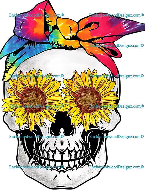 Sunflower Skull Tie-Dye Bandana Emo Hippie Sugarskull Lovers