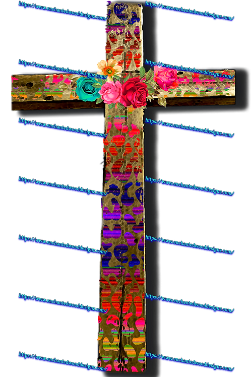 Cheetah Floral Cross