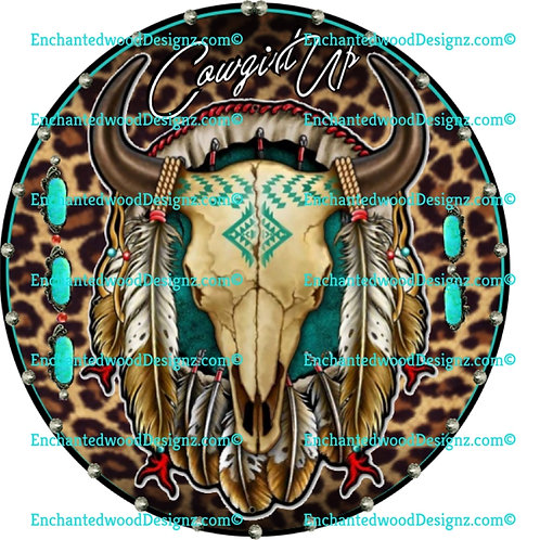 Cowgirl up Cow Skull & Feathers