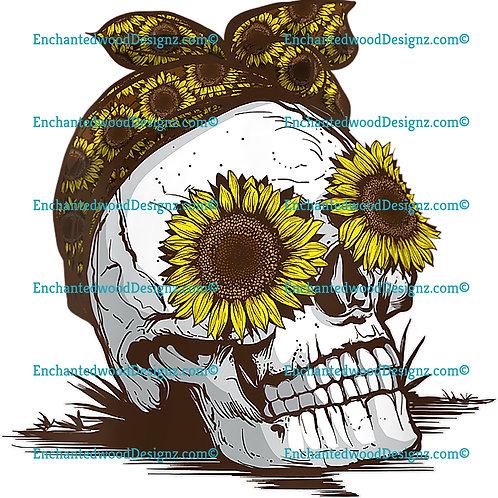 Sunflower Skull Vintage