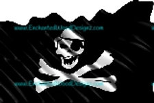 Pirate flag with Crossbones & Patch waving